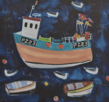 Louise Fox Original Mixed Media Painting Harbour Boats Cornwall